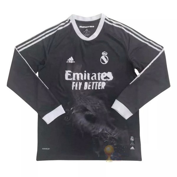 Calcio Maglie Human Race Manga Larga Real Madrid 2020 2021 Nero